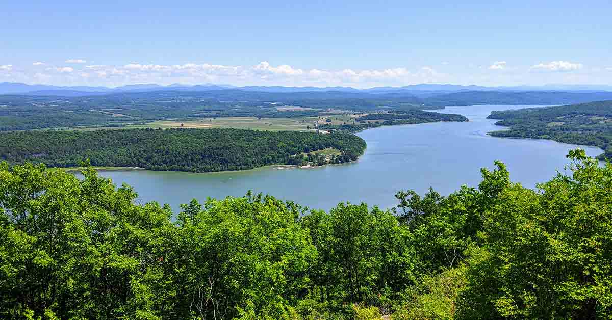 view of lake champlain from mountain