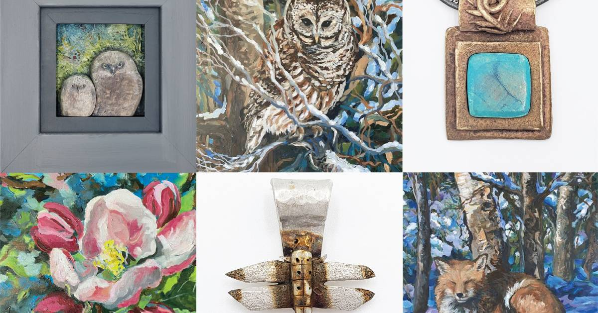 collage of nature paintings