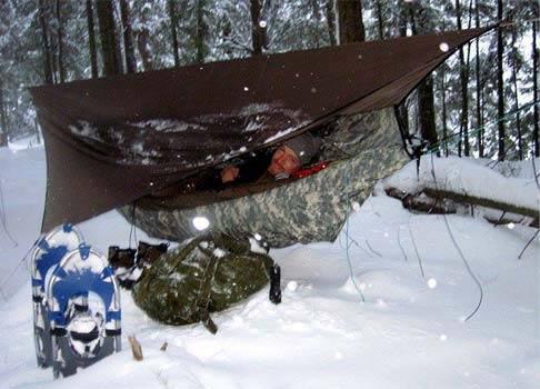 person in a winter campsite