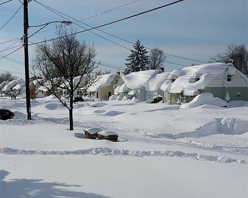 neighborhood covered with snow